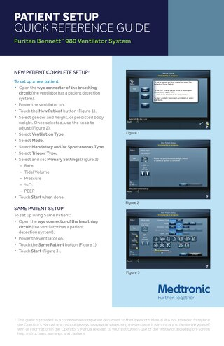PATIENT SETUP QUICK REFERENCE GUIDE: Puritan Bennett™ 980 Ventilator System