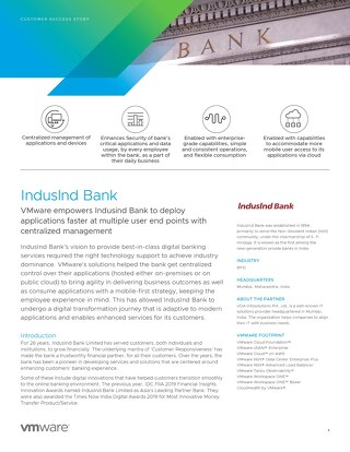VMware Empowers IndusInd Bank to Help Deploy Applications Faster at Multiple User End Points with Centralized Management