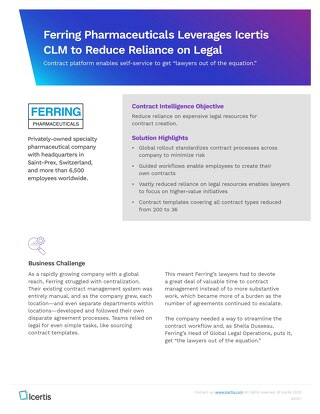Ferring Reduces Legal Workload With Intelligent Contract Management