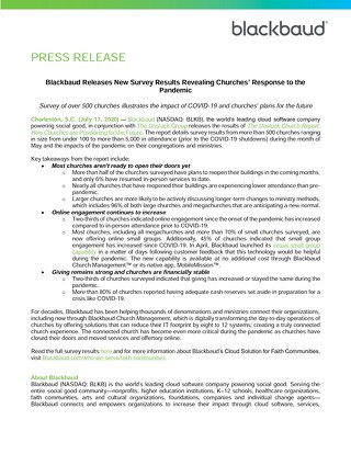 Blackbaud Releases New Survey Results Revealing Churches Response to the Pandemic