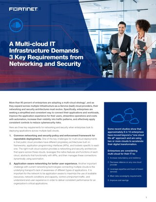 A Multi-cloud IT Infrastructure Demands 3 Key Requirements from Networking and Security