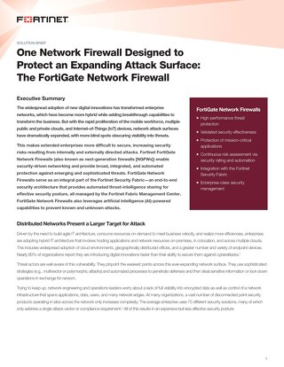 One Network Firewall Designed to Protect an Expanding Attack Surface