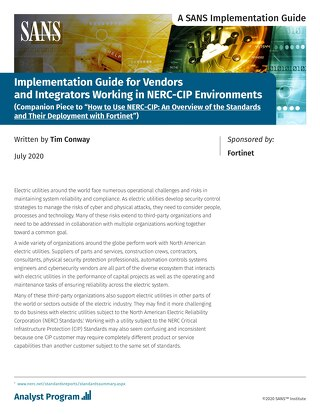 NERC-CIP Implementation Guide for Vendors and Integrators