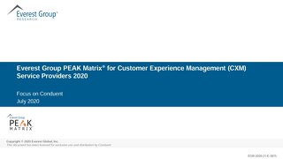Everest Group PEAK Matrix® for Customer Experience Management (CXM) Service Providers 2020
