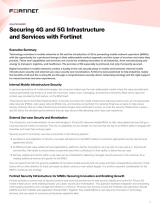 Securing 4G and 5G Infrastructure and Services with Fortinet