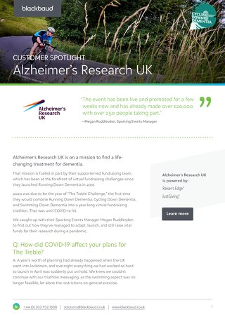 Alzheimer's Research UK | Raiser's Edge NXT & JustGiving