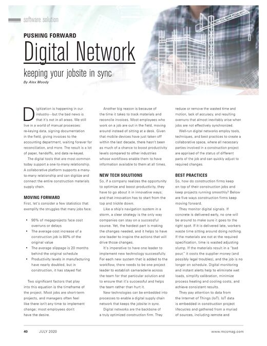 """""""Digital Network: Keeping Your Jobsite in Sync,"""" Featured in Modern Contractor Solutions Magazine"""