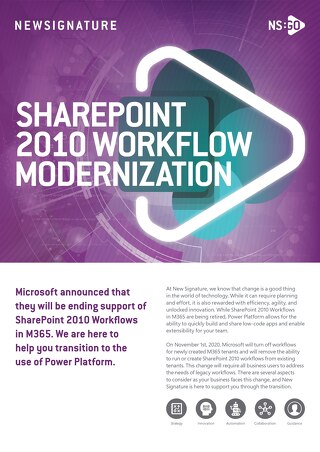 NS:GO SharePoint 2010 Workflow Modernization 2020 Flyer