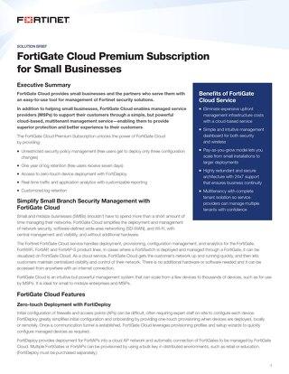 FortiGate Cloud Premium Subscription for Small Businesses