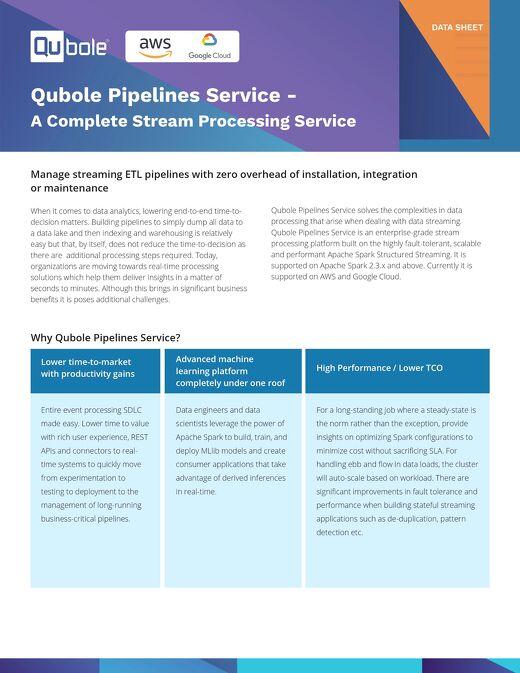 Qubole Pipeline Services
