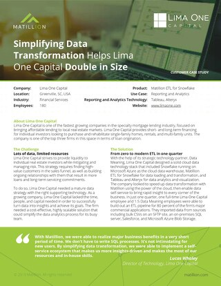 Simplifying data transformation helps Lima One Capital double in size