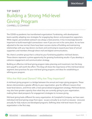 Building a Strong Mid-Level Giving Program Tip Sheet