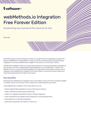 Fact Sheet: webMethods.io Integration Free Forever Edition