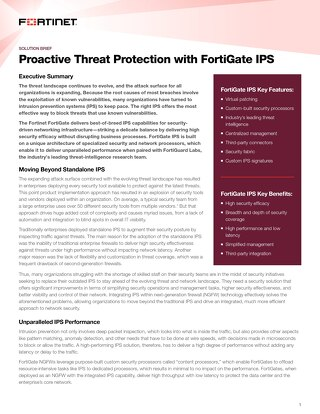 Proactive Threat Protection with FortiGate IPS