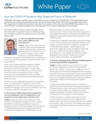 Capsa - How the COVID-19 Pandemic May Shape the Future of Telehealth