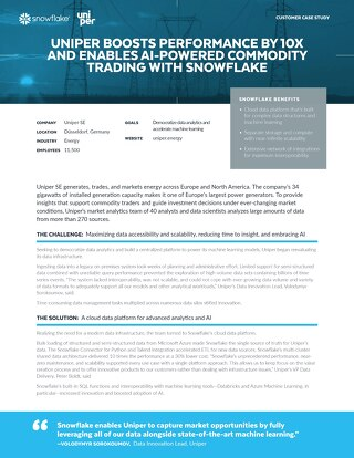 Uniper Boosts Performance by 10x and Enables AI-Powered Commodity Trading with Snowflake