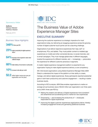 The Business Value of Adobe Experience Manager Sites White Paper