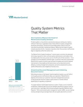 Quality System Metrics That Matter