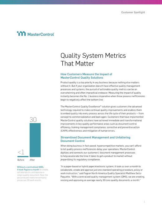 Quality System Metrics That Matter