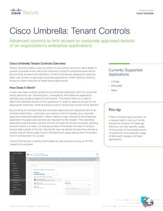 Cisco Umbrella Tenant Controls
