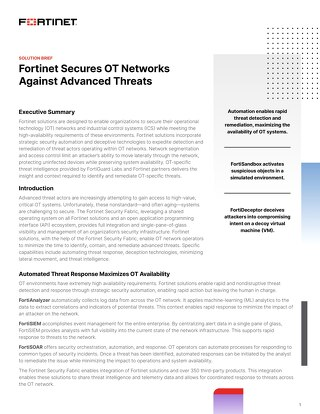 Fortinet Secures OT Networks Against Advanced Threats