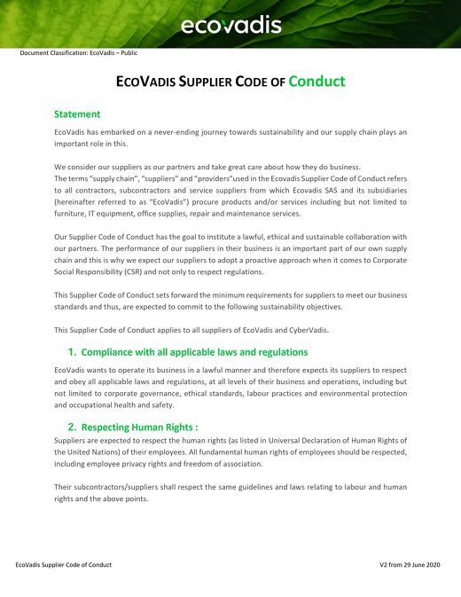 EcoVadis Supplier Code of Conduct