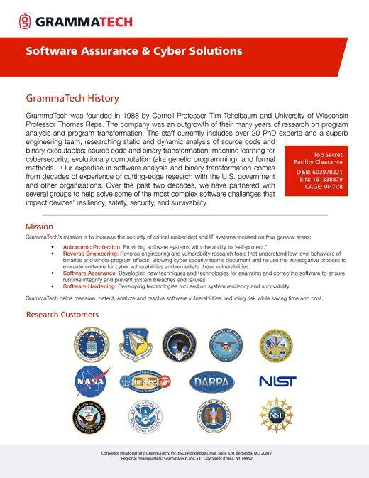 GrammaTech Research Data Sheet