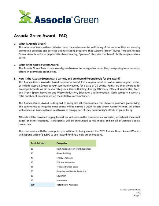 2020 Associa Green Award FAQs