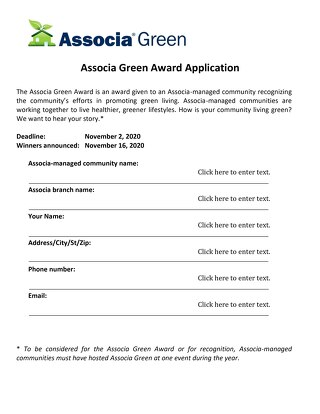 2020 Associa Green Award Application