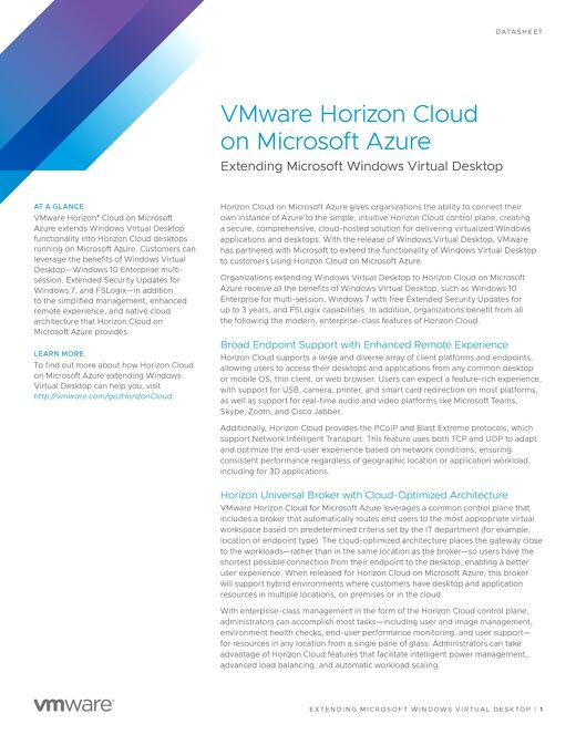 VMware Horizon Cloud on Microsoft Azure