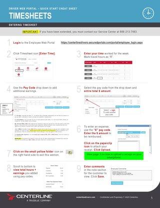 Centerline Web Portal Cheat Sheet - Timesheets - Driver