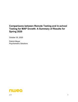 Comparisons between Remote Testing and In-school Testing for MAP Growth