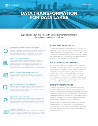 Data Transformation for Data Lakes