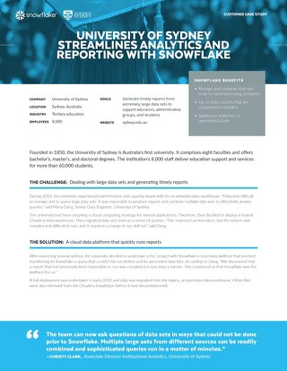 University of Sydney Streamlines Analytics and Reporting with Snowflake