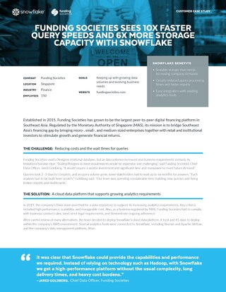 Funding Societies Sees 10x Faster Query Speeds and 6x More Storage Capacity with Snowflake