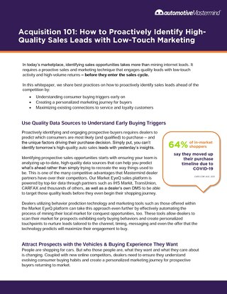 How to Proactively Identify High-Quality Sales Leads with Low-Touch Marketing
