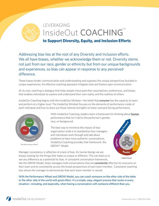 InsideOut Coaching to Support Diversity, Inclusion, and Equity Efforts
