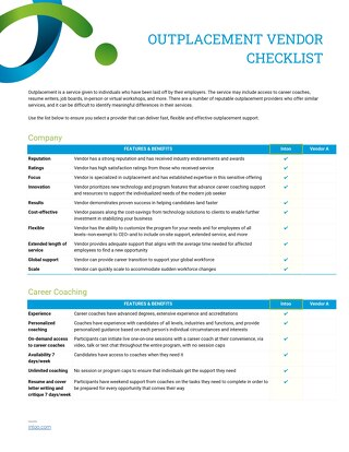Intoo Outplacement Vendor Checklist