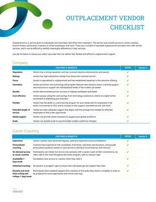 Intoo Outplacement Vendor Checklist