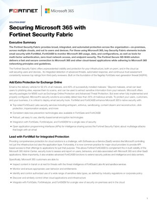 Securing Microsoft 365 with Fortinet Security Fabric