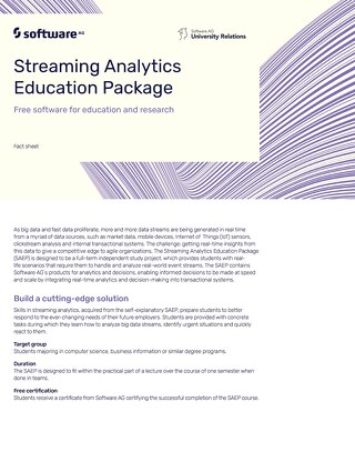 Factsheet:  Streaming Analytics Education Package