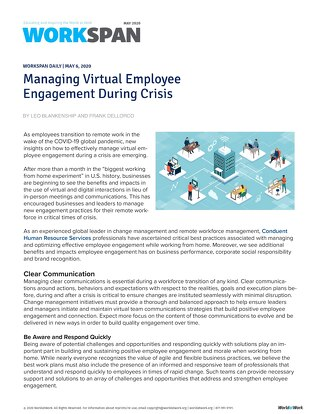 Managing Virtual Employee Engagement During Crisis