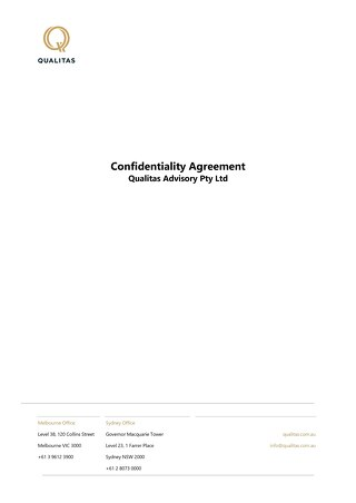 Qualitas Confidentiality Agreement | Mercatus Executed