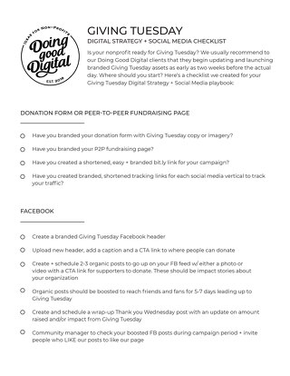 GivingTuesday Digital Strategy and Social Media Checklist