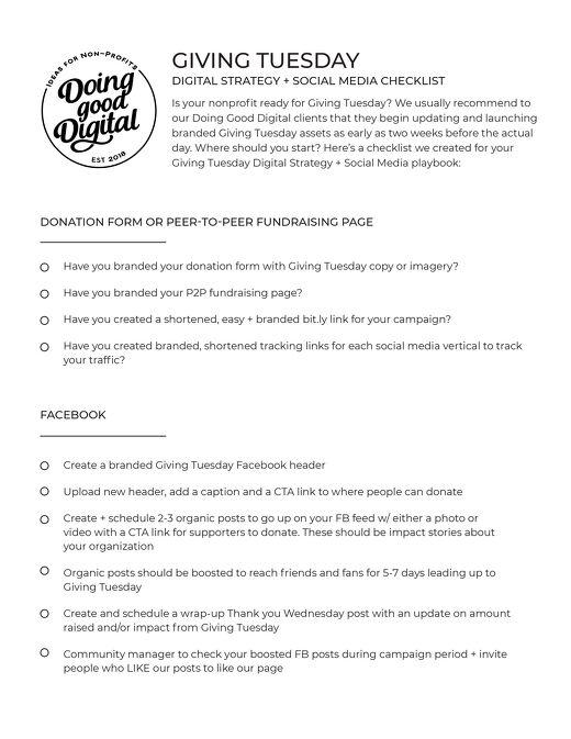 Doing Good Digital's GivingTuesday CheckList