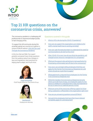 Intoo - Top 21 HR questions on the coronavirus pandemic, answered
