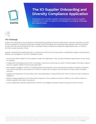 The Icertis Supplier Onboarding and Diversity Compliance Solution