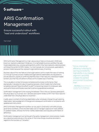 Fact Sheet: ARIS Confirmation Management