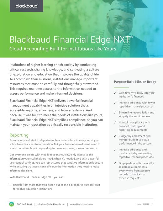 Blackbaud Financial Edge NXT for Higher Education Institutions