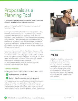 Whitepaper: Using Proposals as a Planning Tool
